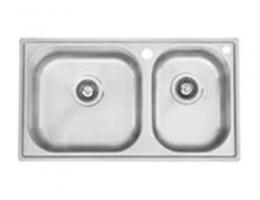 摩恩MOEN 水槽不锈钢双槽套装 丝光面(28100+7594c)