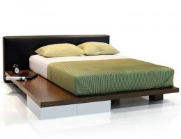 NM 北欧榻榻米双人床抽屉床1.8米简约现代板式风格家具日式真皮板床