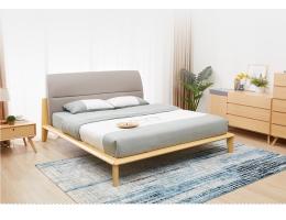 NM 北欧风格实木大床榉木主卧双人床家具日式简约现代风格1.8M婚床