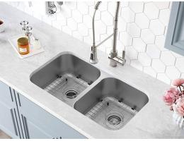 【美国KRAUS304不锈钢水槽双槽1.2mm台下洗碗池克劳斯一体成型KBU29】美国KRAUS30