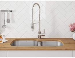 【美国KRAUS304不锈钢水槽双槽加厚台下洗菜盆克劳斯一体成型KBU21】美国KRAUS304不锈