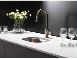 【美国KRAUS不锈钢水槽单槽1.5mm台下小尺寸吧台水槽一体成型KBU17】美国KRAUS不锈钢水
