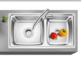 欧琳(OULIN)OLH9813A水槽+龙头套餐 304不锈钢洗菜盆洗碗池 加深款厨房大双槽