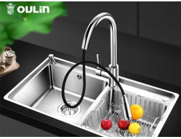 欧琳 OULIN AC860N厨房水槽双槽304不锈钢洗菜盆水池套餐 加厚款洗菜池洗碗池易清洁抽拉式