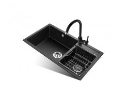 欧琳 OULIN WGS20101石英石水槽双槽套餐 厨房洗菜盆水槽套餐花岗岩菜盆洗碗池水池黑色洗碗