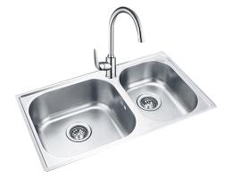 摩恩MOEN 水槽不锈钢双槽套装 丝光面(28100+60201)