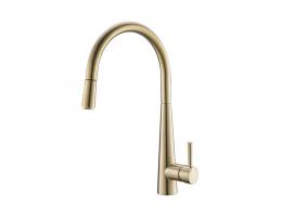 美生卫浴 全铜冷热金色厨房水龙头洗菜盆不锈钢水槽抽拉伸缩旋转拉丝金龙头