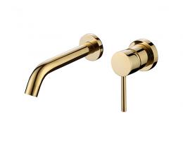美生卫浴 法兰金色全铜冷热暗装隐藏式入墙面盆台盆台上盆水龙头