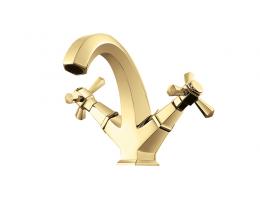 美生卫浴 全铜欧式冷热双把面盆水龙头洗手台洗脸盆台下盆水龙头