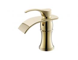 美生卫浴 全铜冷热单孔瀑布面盆式水龙头洗脸盆浴室金色台下盆浴室柜龙头