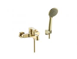 美生卫浴 全铜带升降杆金色浴缸淋浴龙头卫生间浴室洗手间淋浴花洒套装龙头