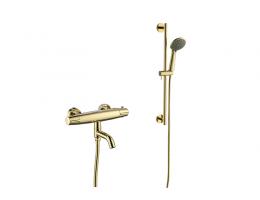美生卫浴 全铜金色恒温淋浴花洒套装浴室洗手间淋浴器花洒