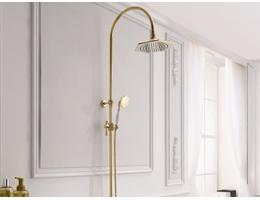 美生卫浴 全铜冷热欧式古典金色淋浴花洒套装喷头淋浴器水龙头豪华明装花洒龙头
