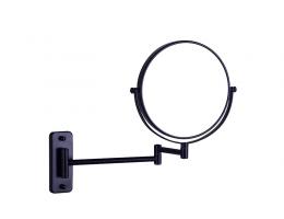 美生卫浴 全铜黑色三倍放大镜拉伸折叠浴室洗手间美容镜化妆镜双面镜